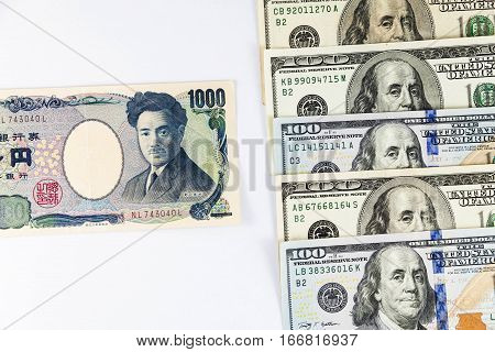 Close up view of US Dollar and Japanese Yen indicating strong currency exchange rate