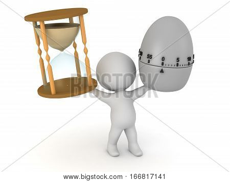 A 3D character holding up an hourglass and an egg timer. Isolated on white background.