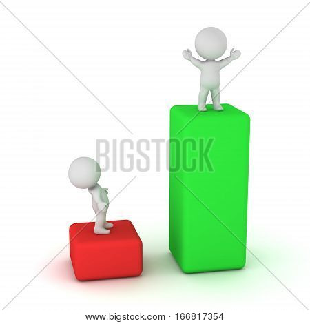 Two 3D characters illustrating an 80-20 concept with two bars. Isolated on white background.