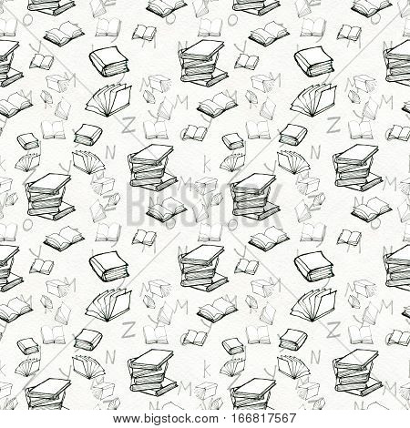 Seamless doodle pattern with books. Library hand drawn sketchy background. Reading and education concept. Black and white