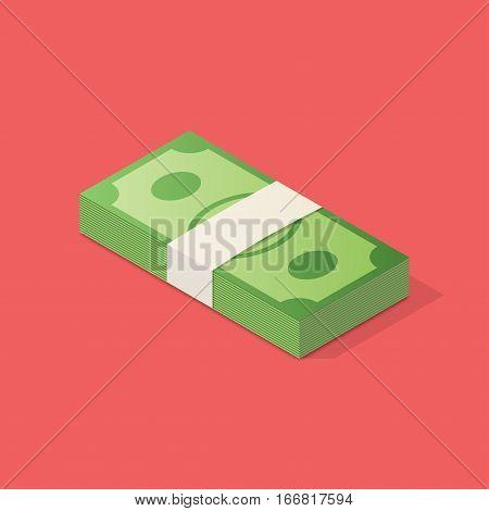 Dollar bills stack. Isometric business vector illustration.