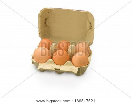 Organic Egg box with a six eggs