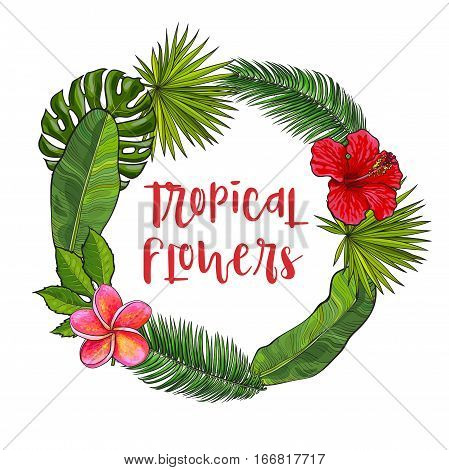 Round frame of tropical palm leaves and flowers with place for text, sketch vector illustration isolated on white background. Hand drawn realistic palm leaves and flowers forming round frame