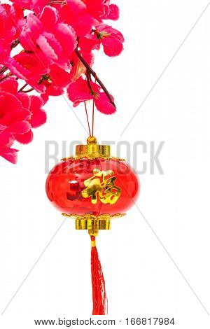 Chinese new year decoration on white background ,Chinese characters text means: rich, successfully, happiness, peace, riches and honour, auspicious , good luck