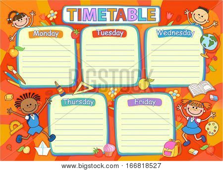 School timetable schedule, pupil tools colorful vector illustration.