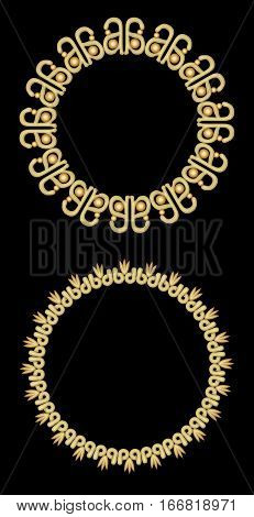 Elegant golden decorative frames vintage luxury circle frames on black background. Design elements for label menu luxurious package cover