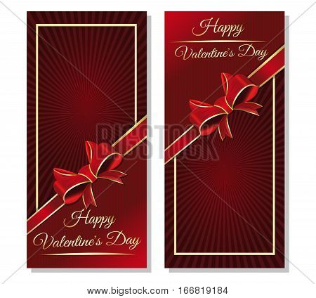 Greeting cards template for Valentine's Day with ribbon, bow and greeting inscription. Red festive background with greeting inscription - Happy Valentine's Day. Dark red vector valentines background