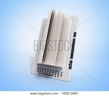 Blank E-book Reader 3D Render Illustration On Glue Gradient