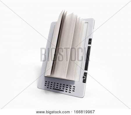 Blank E-book Reader 3D Render Illustration On Gradient
