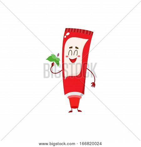 Cute and funny toothpaste character with smiling face, cartoon vector illustration isolated on white background. Toothpaste funny character, teeth hygiene, dental care for children concept