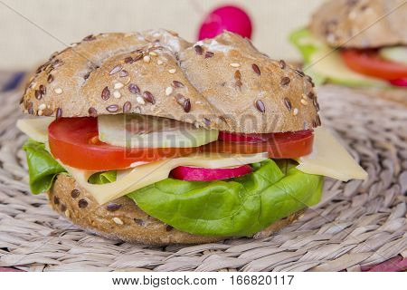 Vegetarian wholemeal sandwich with vegatables and cheese