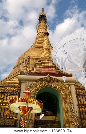 The pagoda of Sule Paya at Yangon on Myanmar