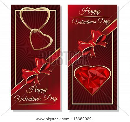 Valentines design. Dark red background. Template cards with hearts, ribbon, bow and greeting inscription. Greeting inscription - Happy Valentine's Day. Couple of golden hearts. Vector illustration