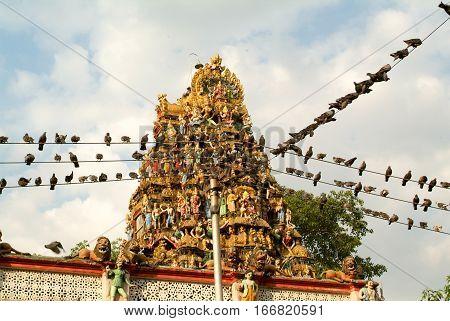 The indian temple of Sri Kali at Yangon on Myanmar