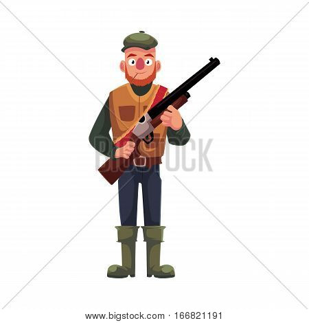 Funny male hunter in hunting vest and rubber boots holding a rifle, cartoon vector illustration isolated on white background. Full length portrait of typical duck hunter with a gun, rifle