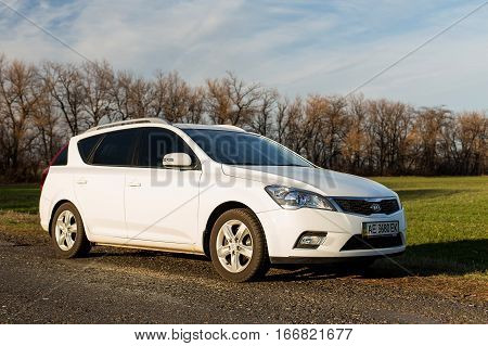 DNIPROPETROVSK REGION, UKRAINE - MARCH 25 2015: KIA CEED IN NATURE