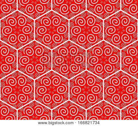 Hexagonal patterns with spiral ornament. Seamless geometric ornament. Hexagonal modern patterns. Vector background with geometric shapes. White patterns on red background. Line ornament in hexagon.