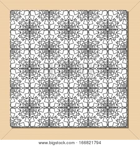 Cubist ornamental seamless tile in black and white, square decorative element composed of polygonal shapes