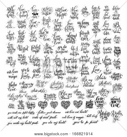 mega set of 100 black and white hand written lettering about love to wedding invitation, valentines day design, greeting card and romantic quotes poster, calligraphy vector illustration collection