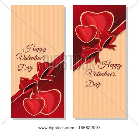 Set banners for Valentines Day with congratulatory inscription. Happy Valentine's Day. Vintage greeting cards. Vector illustration