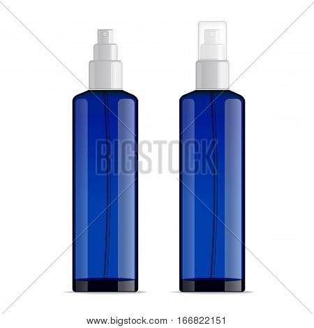 Realistic transparent cosmetic bottle sprayer container. Blue dispenser with cap for cream, perfume, and other cosmetics. Mockup template for design. Vector illustration set