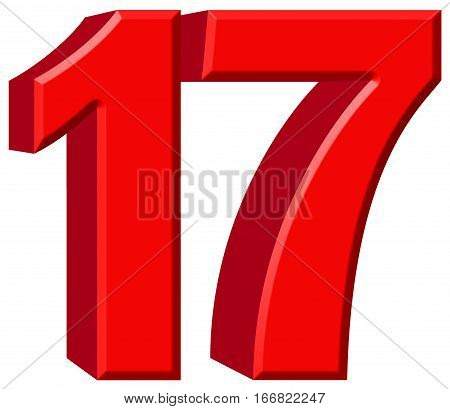 Numeral 17, Seventeen, Isolated On White Background, 3D Render