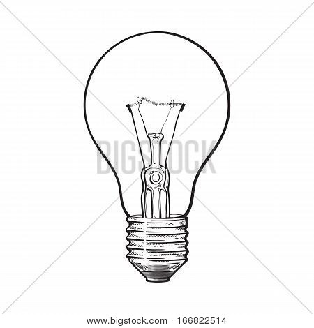 Traditional transparent tungsten light bulb, side view, sketch style vector illustration isolated on white background. hand drawing of retro style transparent tungsten light bulb