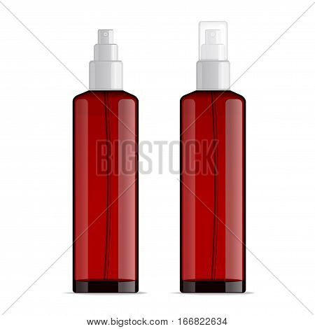 Realistic transparent cosmetic bottle sprayer container. Red dispenser with cap for cream, perfume, and other cosmetics. Mockup template for design. Vector illustration set