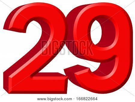 Numeral 29, Twenty Nine, Isolated On White Background, 3D Render