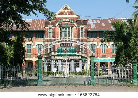 Yangon (Rangoon) building from British Imperial time on Myanmar