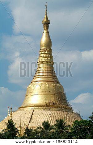 The stupa of Maha Wizaya Paya pagoda at Yangon on Myanmar