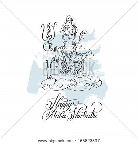 Happy Maha Shivratri black line art greeting card design on brush stroke background to indian celebration festival with lord Shiva and calligraphic modern lettering, vector illustration