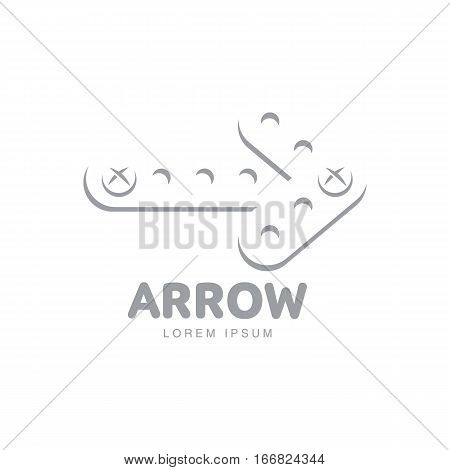 Business, corporate logo template with arrow made of erector game metal bars fixed together by screws, vector illustration isolated on white background. Graphic arrow logotype, logo design
