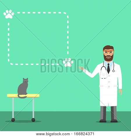 Doctor with cat. Veterinarian colored icons on blue background, vector illustration