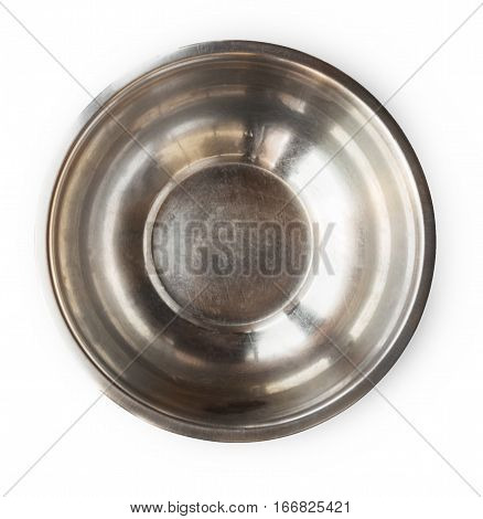 Metal salad bowl top view on white background. Aluminium cooking utencil, dishware for professional kitchen