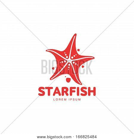 Graphic silhouette starfish logo template, vector illustration isolated on white background. Stylized graphic starfish logotype, logo design, summer vacation concept