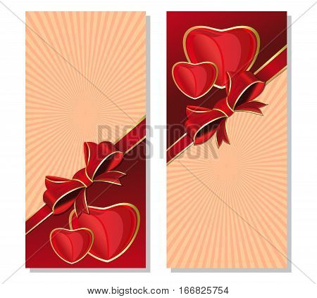 Vintage background with hearts for Valentine's Day. Retro background with red ribbon and bow. Vector background for romantic events