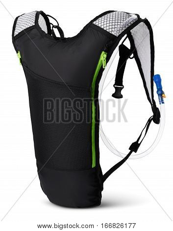 Hydration pack side view isolated on white background