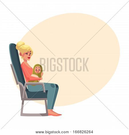 Young beautiful blond woman in airplane seat, economy class, holding little baby, cartoon vector on background with place for text. Woman passenger with baby in economy class airplane seat, side view