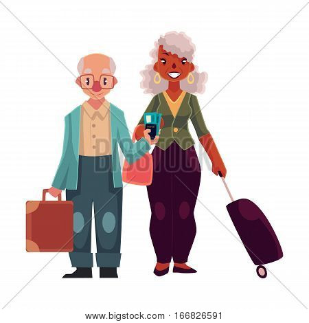 Old couple of man and black woman with suitcases in airport, cartoon illustration isolated on white background. Full length portrait of old lady and gentleman, senior man and woman travelling together