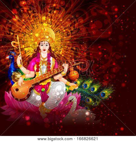 easy to edit vector illustration of Goddess Saraswati for Vasant Panchami Puja of India