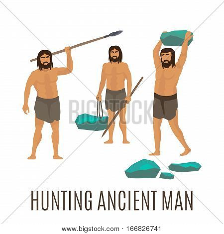 Hunting ancient men, isolated vector icons on white background. Men holding stones and spear
