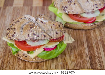 Vegetarian wholemeal sandwich with vegetables, copy space
