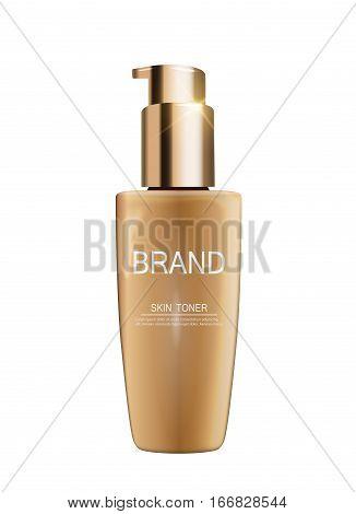 Skin Toner Bottle Tube Template for Ads or Magazine Background. 3D Realistic Vector Iillustration. EPS10