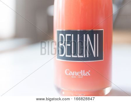 SUMY UKRAINE - JANUARY 25 2017: Bottle of Bellini by Canella. Bellini is cocktail composed of prosecco sparkling wine and peach nectar.