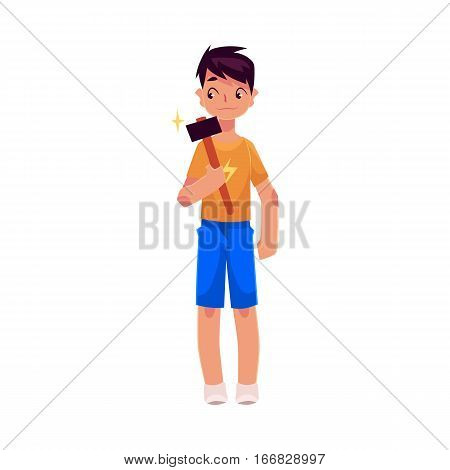 Teenage boy in shorts and t-shirt holding a hammer, cartoon vector illustration on white background. Full length portrait of boy holding hammer, repair concept