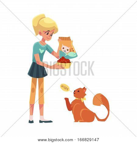 Teenage girl giving food to her fluffy red cat, cartoon vector illustration on white background. Full length portrait of blond girl feeding her red, long haired cat