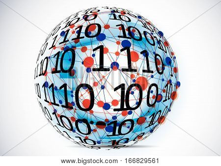 Technology koncept.Binary background . Vector Technology.Globe consisting of binary codes.Computer network.