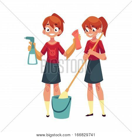Teenage girl helping to clean house, washing floors, holding cloth and sprinkler, cartoon vector illustration isolated on white background. Girl cleaning home with mop and water, cloth and sprinkler