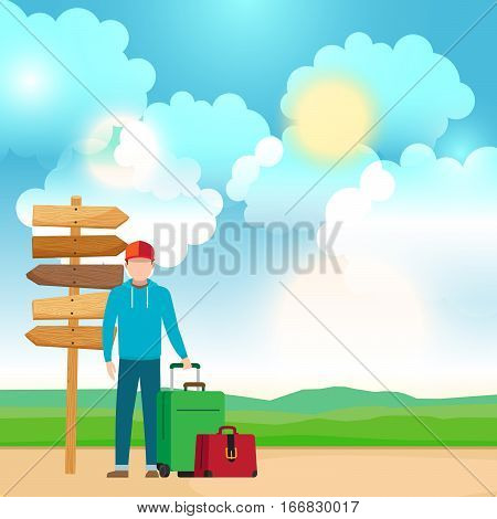 Man with travel bags near wooden way direction sign. Vector illustration